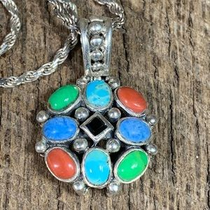 Jewelry - 925 Sterling Silver Multi-Stone Necklace